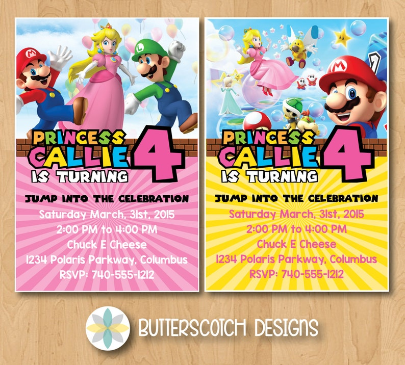 Super Mario Princess Peach Birthday Invitation Pick From 2