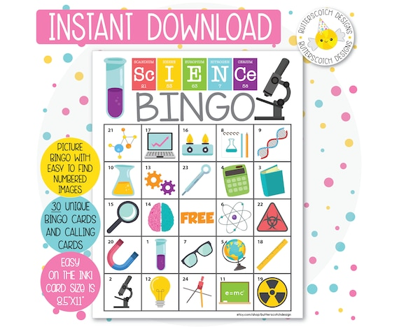 image relating to Printable Bingo Cards for Kids named Science / Chemistry Printable Bingo Playing cards (30 Alternate Playing cards) - Instantaneous Down load