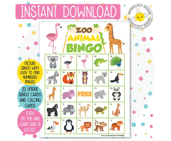 graphic relating to Animal Bingo Printable identify Zoo Safari Animal Bingo Playing cards (20 Substitute Playing cards) - Prompt Obtain