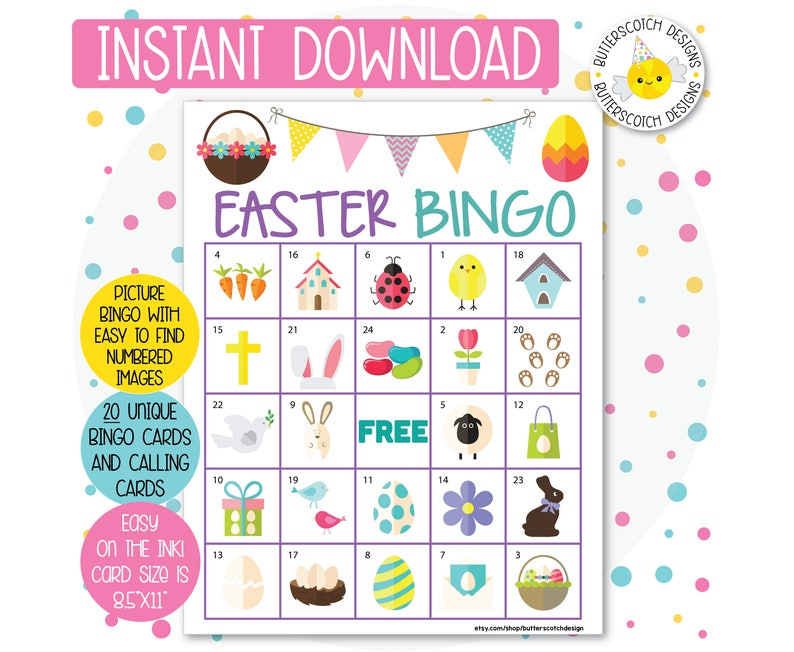 Easter Printable Bingo Cards 20 Different Cards Instant Etsy