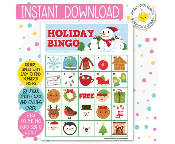 photograph about Holiday Bingo Printable known as Trip / Xmas Printable Bingo Playing cards (30 Alternative Playing cards) - Instantaneous Obtain