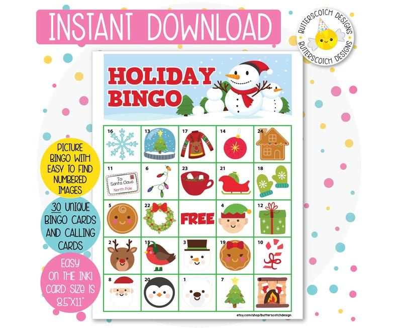 photograph relating to Free Christmas Bingo Cards Printable identify Vacation / Xmas Printable Bingo Playing cards (30 Substitute Playing cards) - Prompt Obtain