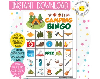 Camping Printable Bingo Cards (30 Different Cards) - Instant Download