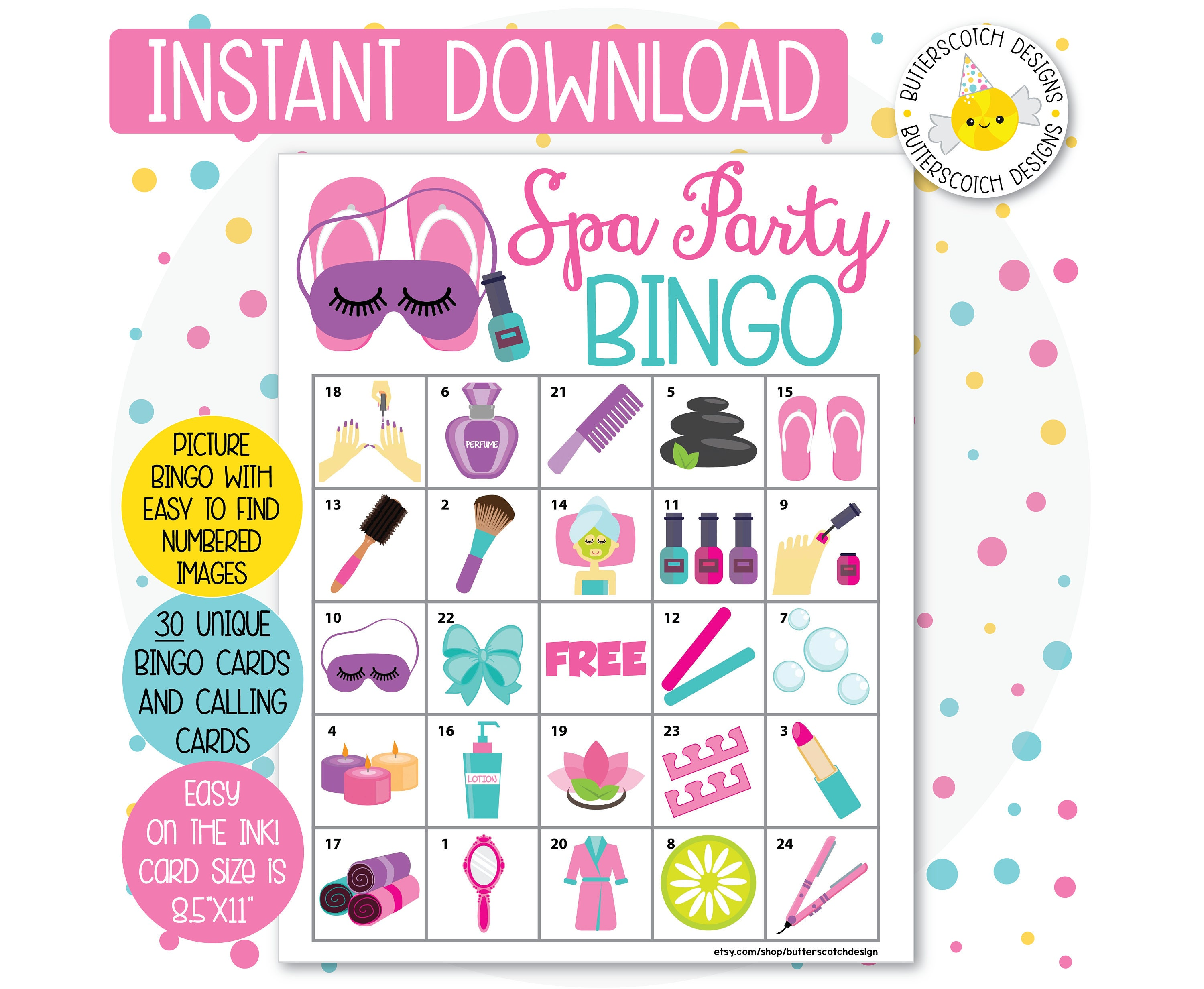 Spa Party Printable Bingo Cards 30 Different Cards Instant Etsy