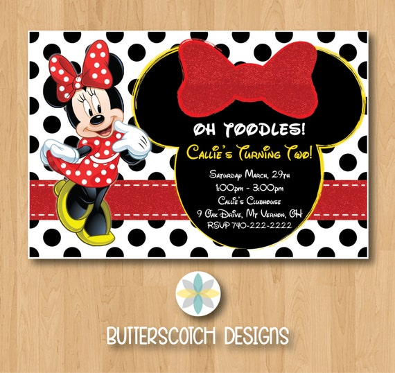 Red Minnie Mouse Birthday Invitation Printable Digital File