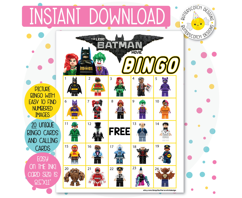 Lego Batman Printable Bingo Cards 20 Different Cards Etsy