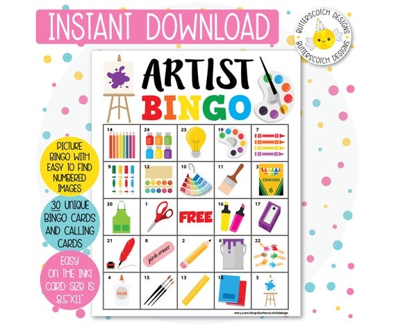 graphic about Printable Bingo Cards for Kids referred to as Artist / Artwork Occasion Printable Bingo Playing cards (30 Choice Playing cards) - Prompt Obtain
