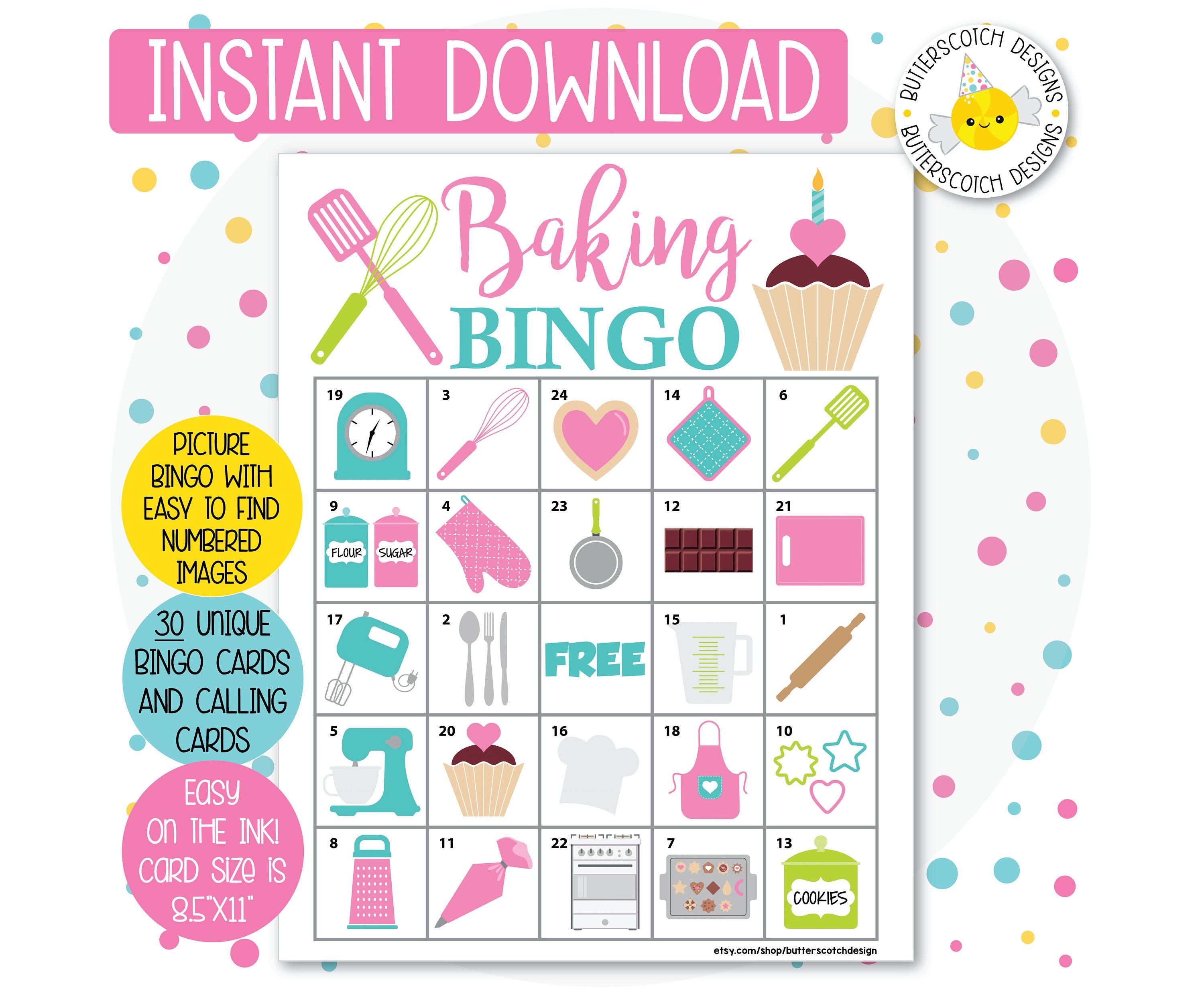 Baking Printable Bingo Cards 30 Different Cards Instant Etsy