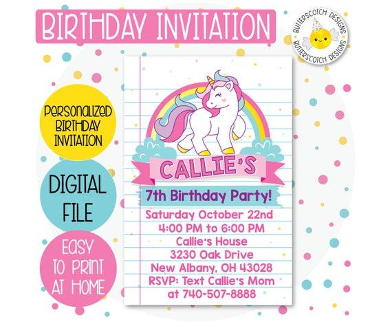 Unicorn Rainbow Party Birthday Invitation