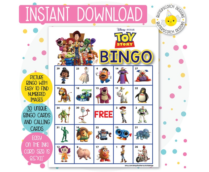 photograph relating to Printable Toy identified as Toy Tale Printable Bingo Playing cards (30 Substitute Playing cards) - Quick Down load