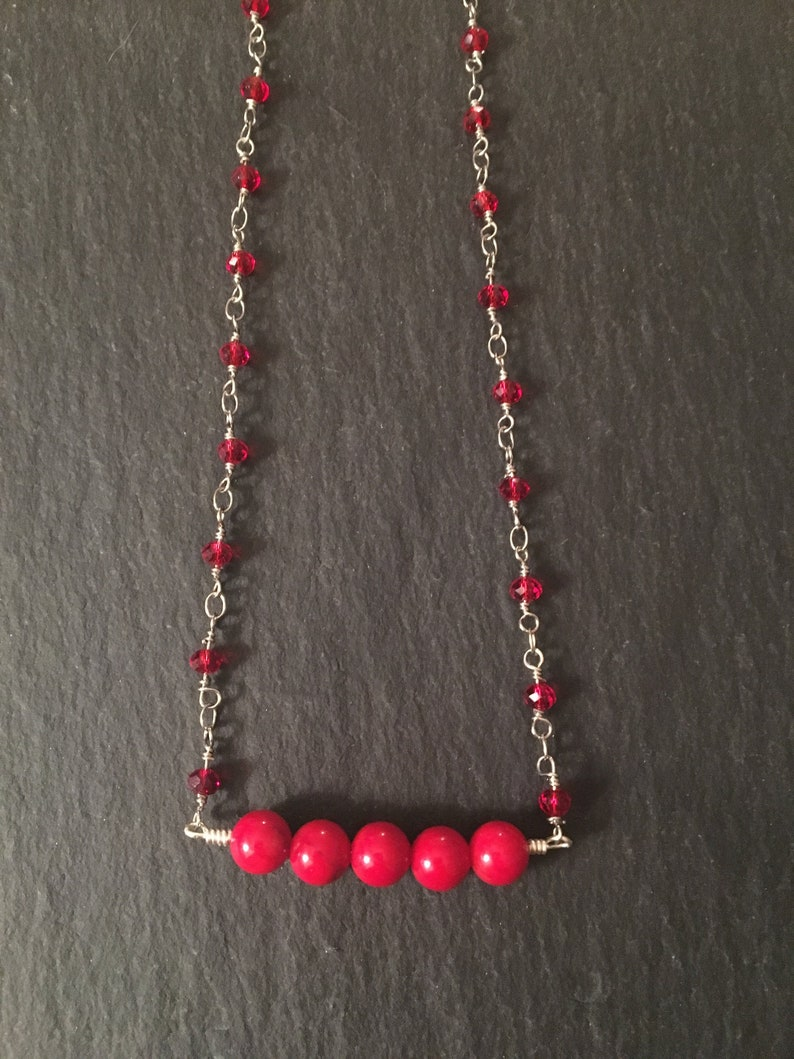 Red Coral Choker Red Coral Choker with Rosary Chain