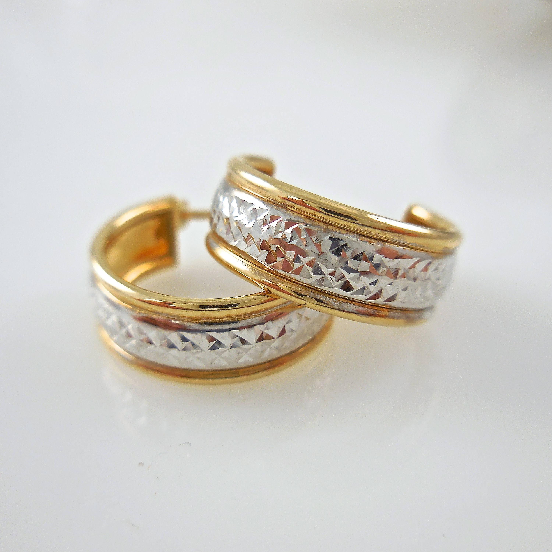 Earrings 14K Yellow and White Gold Diamond Cut Earrings