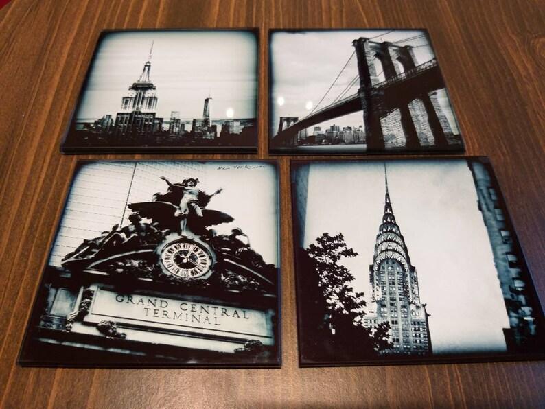 Glass coasters  Set of 4 original NY photo coasters Best image 0