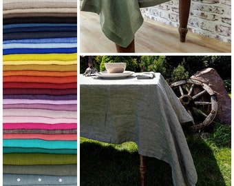 Washed linen tablecloth 36 COLORS off white beige denim blue black green yellow purple pink stonewashed tablecloth wide hem mitered corners