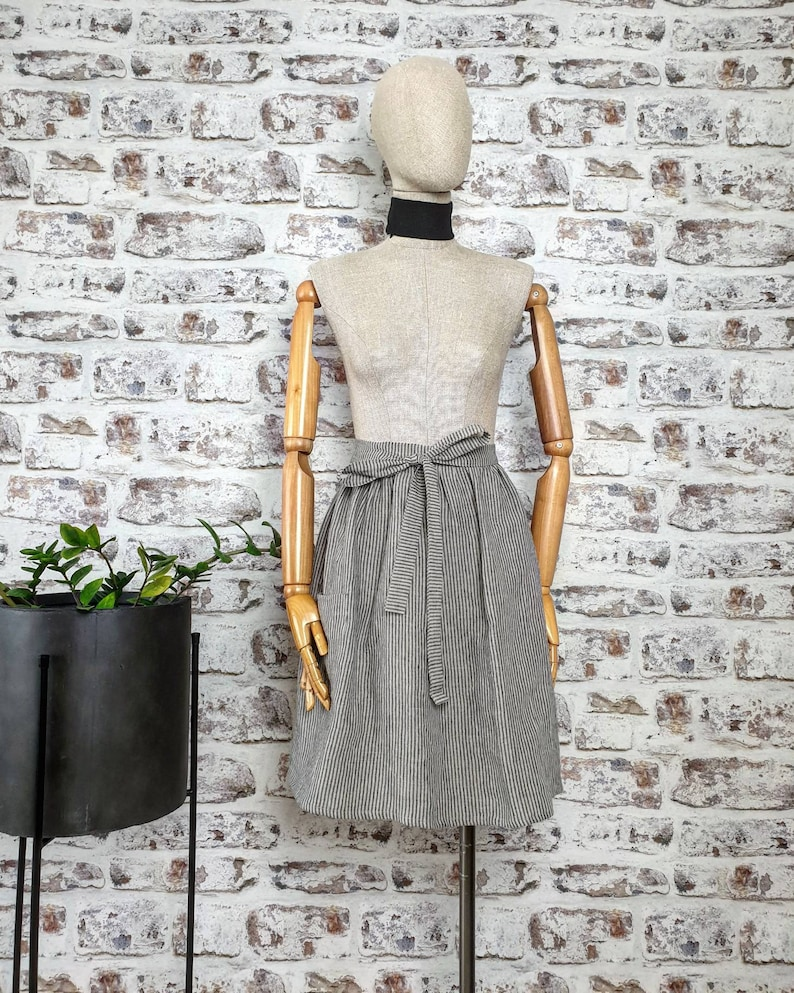 striped linen kitchen dress stonewashed linen skirt apron with pockets washed linen vintage rustic half apron Ruffled linen bistro apron