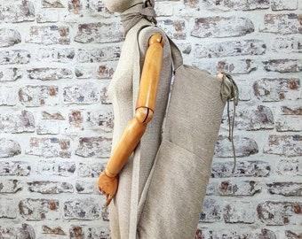 Linen yoga bag, natural linen yoga mat bag, big pilates bag, burlap sport bag, rough linen gym bag, beach bag, rustic tote bag with pockets