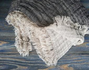 Fringed linen blanket, softened linen blanket, black beige linen blanket, linen throw, linen beach wrap, raw linen throw, black linen cover