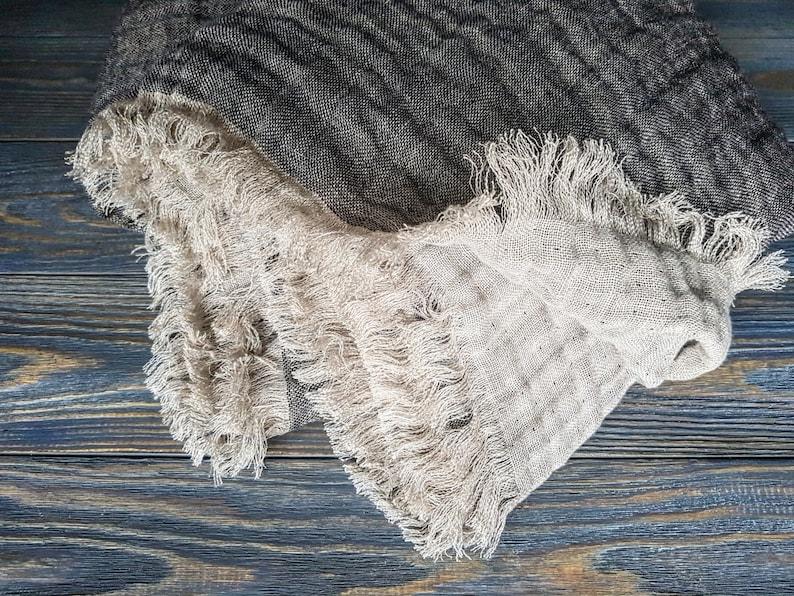 Fringed linen blanket softened linen blanket black beige image 0