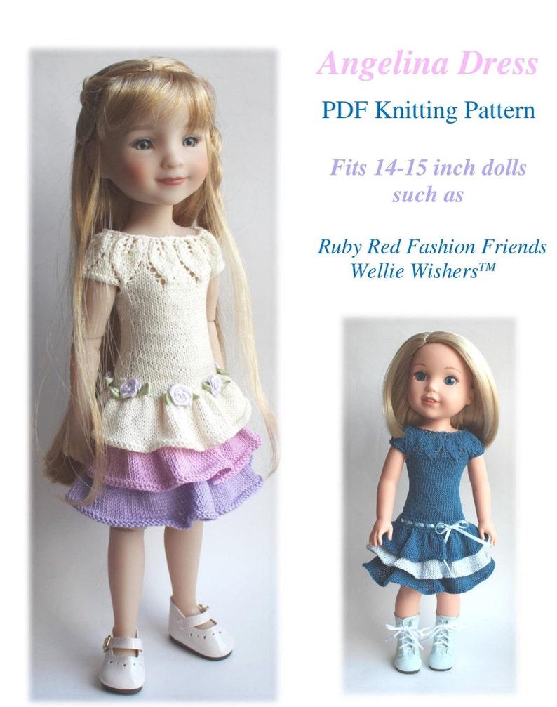 Angelina Dress  PDF Knitting Pattern  Fits 14-15 inch dolls image 0