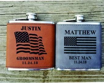 0760195abd40 Custom Flag Flask for Groomsmen Patriotic