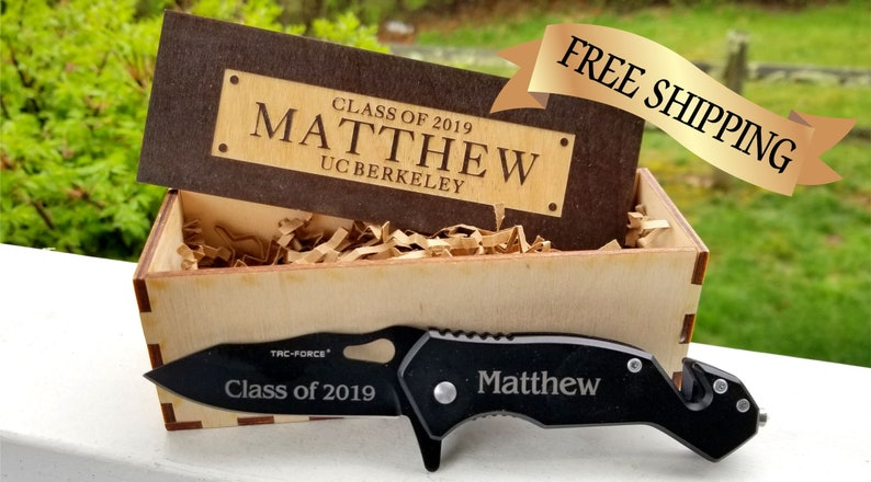 engraved pocket knife and college plaque - graduation gift idea for son