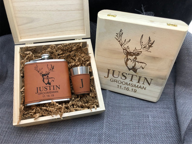b3310740f285 7 Groomsmen Gift Box Custom Engraved Wood Box Flask and Shot