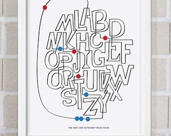 The One Line Alphabet Maze