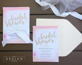 Watercolor Wash Bridal Shower Invitations (with WHITE envelopes)