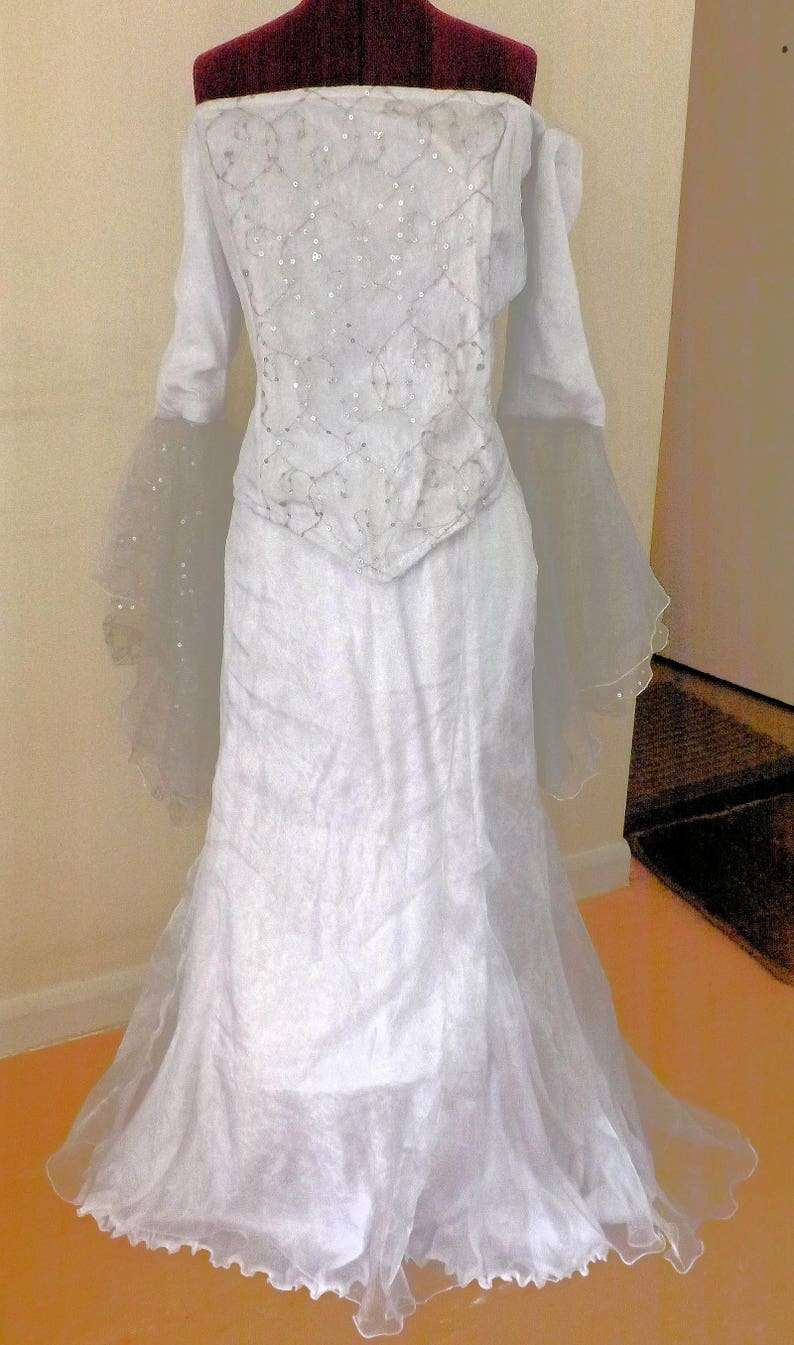 Wedding Dress Skirt And Top Combination White And Silver Etsy