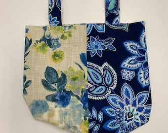 Market Bag / Double-Sided / Oversized Fabric Purse / Craft Carrier / Blue Florals