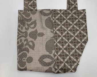 Market Bag / Double-sided / Oversized Fabric Purse / Craft Carrier / Grey Gray Brown Regal