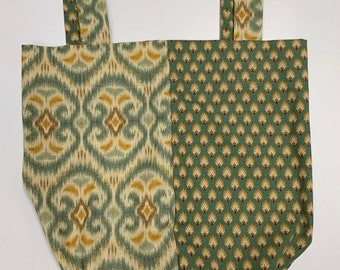 Market Bag / Double-Sided / Oversized Fabric Purse / Craft Carrier / Green Gold Regal