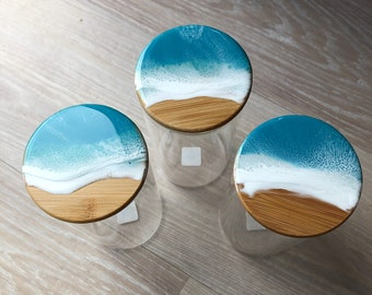 Resin Wave Bamboo Lid Container