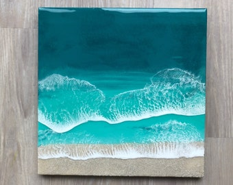 "16""x16"" Resin Beach Art"
