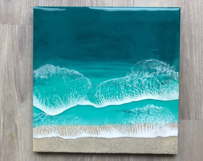 "Featured listing image: 16""x16"" Resin Beach Art"