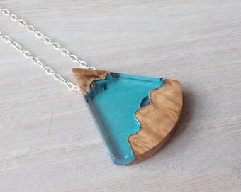 Burl Wood and Clear Blue Resin