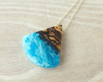 Spalted Tamarin Wood and Blue and White Resin