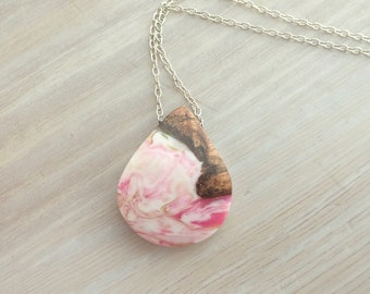 Koa Wood and Pink, Yellow and White Resin