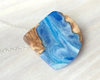 Burl Wood and Blue Resin with White Swirls