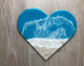 "Resin Heart Wall Art, 12"" Resin Wood Art, Heart, Beach House Decor, Ocean Decor, Surfer Style, Resin Art, Fluid Art, Beach Art, Wave Art"