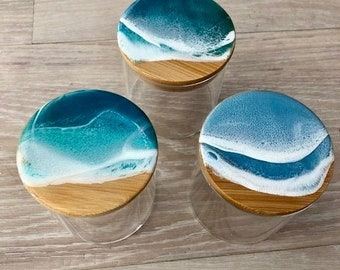 """3.5"""" tall glass container with resin wave lid"""