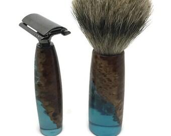 Razor and Shaving Brush set, Burl Wood and blue surf resin, Premium Badger Hair Shaving Brush, Safety, Fusion or Mach 3 Hardware