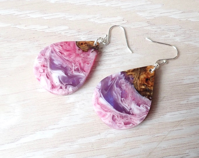 Featured listing image: Mango Wood and Purple, Pinks and White Resin