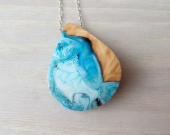 Burl Wood and Blue, White and Black Resin