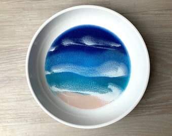 Ceramic Dish with Resin Beach Scene