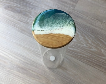 Tall glass container with bamboo lid