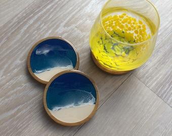 Bamboo and resin beach coaster