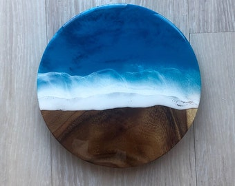 "11"" Beach Wall Art on Acacia Wood"