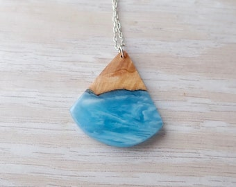 Burl Wood and Blue Resin Necklace