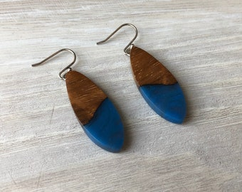 Koa Wood and Blue Resin